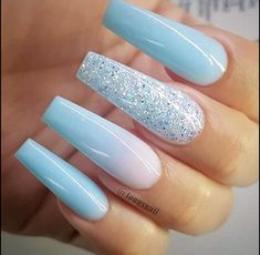 31 Trendy Summer Long Ombre Coffin Nails Ideas Nail Art images of nail art Blue Acrylic Nails, Blue Ombre Nails, Matte Nails, Acrylic Nails For Summer Coffin, Nail Art Blue, Coffin Nails Ombre, Light Blue Nails, Aycrlic Nails, Nail Nail