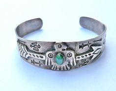 Vintage Silver Cuff Bracelet Thunderbird Arrow Navajo Stamped Designs Tourist Trade c. 1940