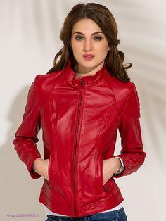 кожаная красная куртка