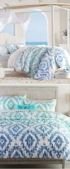 Girls Surfing Bedding: Ombre and ikat medallions combine on this organic cotton quilt for a beautiful and earth-friendly addition to your sleep space. Exclusively designed with 11-time world surfing champ Kelly Slater, this collection brings authentic surfer style indoors.#girlsbedding #littlegirlsbedding #floralbedding #girlsbedroomideas #kidsbedding #girlsbedroom, #girlsroom, #kidsroomsgirlsdreamrooms #kidsbedroomideas #girlsbedroomideasteenage #teengirlbedding Teen Girl Bedding, Teen Girl Bedrooms, Surfer Bedroom, Modern Bedroom, Bedroom Decor, Little Girl Beds, Kelly Slater, Surfer Style, Floral Bedding
