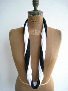 NEW...Black and White Recycled T Shirt Necklace / Long Short by ohzie