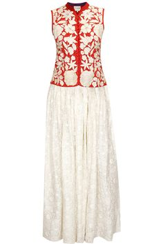 Red floral work jacket top with white self embroidered skirt by Krishna Mehta. Shop now: http://www.perniaspopupshop.com/designers/krishna-mehta #jacket #top #krishnamehta #shopnow #perniaspopupshop