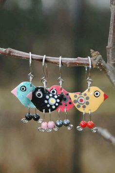 Colorful bird earrings summer earrings by HorakovaDesigns on Etsy, $28.00