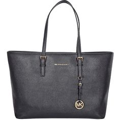 Michael Kors Jet Set Multifunction Tote Handbag in Black found on Polyvore