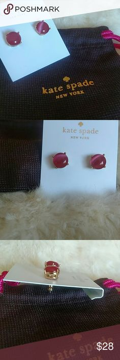 "🆕 Authentic Kate Spade Pink Gumdrop Studs Inspired By A Sweet Tooth And All Things That Sparkle. Crafted Of Dazzling Stones In Confectionery Colors And Placing It In A 14k Gold Plated Setting. They Make A Super Sweet Finishing Touch. These Give Off The Look Of Cats Eye Gemstones! Gorgeous! Size Is 4"" X 4.5"" X 0.5"".  5/8"". Comes In A Kate Spade Pouch With Tags. Fast Shipping!(Merc) kate spade Jewelry Earrings"