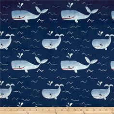 Michael Miller Minky Whales Whales Navy from @fabricdotcom  This lovely minky fabric features a cozy low nap pile and is printed. It is perfect for apparel, blankets, throws, accents, and stuffed animals. Colors include shades of blue with white, red, and grey accents.