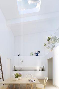 Sehr helle und vor allem hohe #Küche. Lampenkabel-XXL. Mehr zur Beleuchtung in der Küche: http://www.kuechensociety.de/licht.html