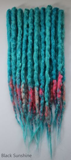 Blue and Pink DE Crochet Synthetic Dread by blacksunshineiow, £15.99