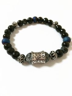 Mens Stretch Bracelet Black Beaded Bracelet Mens Bead Bracelet for Him Mens Fashion Accessories Mens Bracelet Mens Fashion Jewelry (ST82) by JulemiJewelry on Etsy