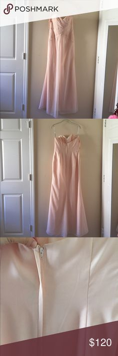 Petal Pink Evening Gown This super cute petal pink dress is perfect for prom, a wedding, or any other special occasion! It comes with removable straps and is in perfect condition. Has never been worn. It hugs your body to give you a nice hourglass figure. Can fit either a 4 or a 6. Jordan Fashions Dresses Prom