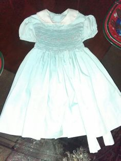 15597a75444dd Vintage Polly Flinders Girls 24 Months Dress Mint Green Hand Smocked Puff  Sleeve #fashion #