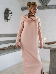 Scuba Neoprene Maxi Dress Kaftan with Pockets / Blush Pink