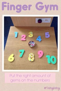 Finger Gym - arranging gems on foam letters. Counting/math, fine motor, kindergarten, school age.  Found on FB Group: Early Years ideas from Tishylishy