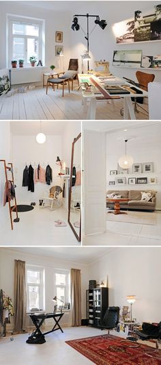 Top photo: love the long desk with various purposes and the idea of not putting your desk up against the wall, via sfgirlbybay.com.