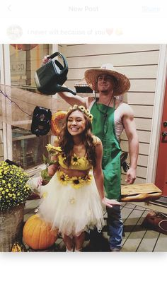 Sunflower and Gardener Couples Halloween Costumes! Perfect for College!