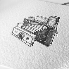 A new collaboration with @porridgepapers ~ the vintage camera letterpress series (1 of 6). They did such a nice job making these prints. So honored to have them print my work. Now available on their website (link in bio) | #1011drawings #penandink...