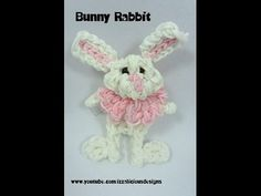 Rainbow Loom BUNNY RABBIT figure. Designed and loomed by Kate Schultz of Izzalicious Designs. Click on photo for YouTube tutorial. 04/06/14