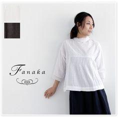 【Fanaka ファナカ】 ダブルガーゼ ピンタック レース ハイネック ブラウス (71-2052-107)