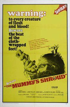 The Mummys Shroud (1967) Hammer Film - Movie Poster https://www.youtube.com/user/PopcornCinemaShow