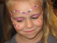 Face Painting Samples: purple and pink heart princess