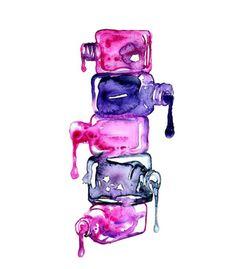 Giclée Art Print by Aurora Kroon Nail Salon Decor, Nail Salon Design, Nail Logo, Illustration Mode, Nail Studio, Beauty Art, Beauty Nails, Pink Nails, Cute Wallpapers