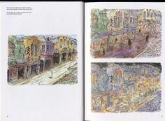 Hayao Miyazaki, Studio Ghibli, Studio Hibari, Spirited Away, The Art of Spirited Away Miyazaki Spirited Away, Hayao Miyazaki, Spirit World, Fantasy Films, Studio Ghibli, City Photo, Vintage World Maps, Animation, Japanese