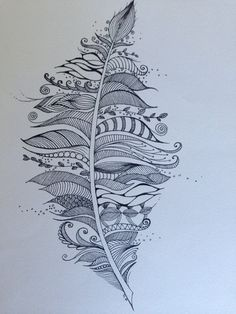 Hand drawn zentangle feather black pen on white paper on Etsy, $11.50