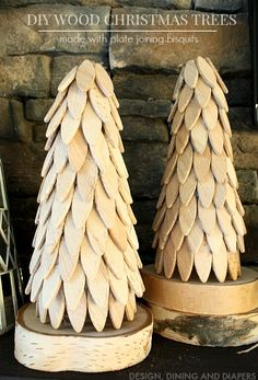 Create DIY Wood Christmas Trees using Plate Joining Biscuits! Such an innovative idea. You could leave them raw or paint them! Wood Christmas Tree, Christmas Tree Design, Winter Christmas, Handmade Christmas, Christmas Decorations, Christmas Projects, Prim Christmas, Christmas Things, Christmas Baby