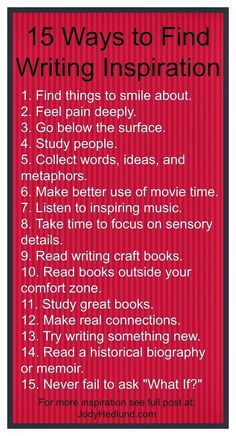 15 ways to Find Writing Inspiration