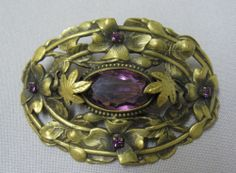"LG Antique Art Nouveau Victorian Sash Pin Brooch w Faceted Purple ""Amethysts"" 