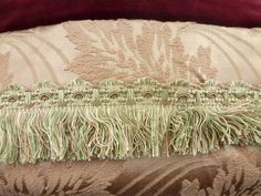 French+antique+leaves+decor+boudoir+pillow+cushion+with+trim+handmade+pillow+for+home+decor.+1900s.+Vintage+satin+brocade+rosé+gold,+24x24+by+AntiquePillows+on+Etsy