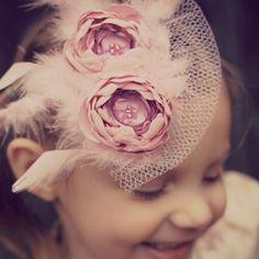 ludaspreciousdesigns Flower Girl Headpiece, Pink Fascinator, Baby Flower Headbands, Satin Sash, Pink Satin, Blush Pink, Pink Feathers, Diy Hair Accessories, Headpieces