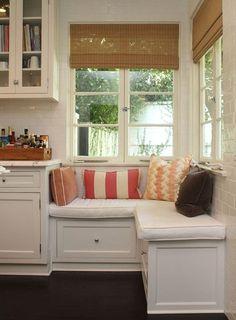 kitchen & window seats  Would like to do this if I don't get to knock the wall down. Under the old kitchen window?