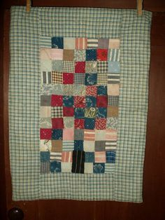 Early 1900 Homespun Calico Patchwork Doll Quilt Tied Comforter