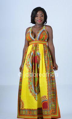 African print dashiki dress / Dashiki maxi dress / Angelina maxi dress / Yellow african dress / Afri African Fashion Dresses, African Dress, African Outfits, Dashiki Dress, Queen, Diy Dress, African Beauty, Clothes Horse, Yellow Dress