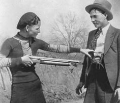 Bonnie and Clyde, were well-known outlaws, robbers, and criminals who traveled the Central United States with their gang during the Great Depression.