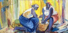 Untitled, Oil painting depicting two women preparing food, by Nii Amon Kotei (1915-2011), Ghanese painter, musician and sculptor.