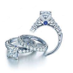 V-Prong Setting Princess Cut D/VVS1 Diamond Women's Engagement Bridal Ring Set…