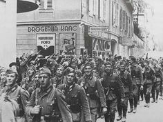 Wehmacht infantry entering Maribor, Slovenia were greeted by cheering locals on 8 April 1941