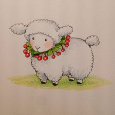 Mary Engelbreit drew this to celebrate Happy Year of the Sheep and National Cherry Pie Day! copyright Mary Engelbreit Enterprises, Inc.