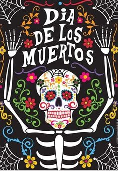 Day of the Dead Poster - - Decorate your walls on November the with our beautiful Day of the Dead skeleton poster. This poster would look good attached to any wall or door, and can complete your Day of the Dead decor. It's tradition Alive! Day Of The Dead Party, Day Of The Dead Skull, Day Of Dead, Halloween Decorations, Halloween Party, Mexico Day Of The Dead, Sugar Skull Art, Sugar Skulls, Park Art
