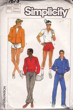 80s Retro Mens Tracksuit Pattern Simplicity 7673 Vintage Sewing Pattern Size MEDIUM Chest 38 - 40 inches UNCUT Factory Folded