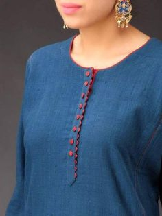 Indigo-Maroon Panel Khadi Kurta - All About Neck Designs For Suits, Neckline Designs, Dress Neck Designs, Designs For Dresses, Blouse Designs, Salwar Designs, Kurta Designs Women, Kurti Designs Party Wear, Designer Salwar Kameez