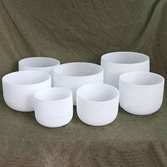 Chakra Tuned Set of 7 Frosted Quartz Crystal Singing Bowls 8''-12'' -- To view further for this item, visit the image link.