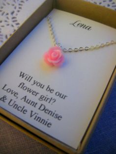 Flowergirl Gifts, Small Sized Rose Necklace, Personalized Notecards, Free…