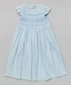 Love this Blue Smocked Sophia Angel-Sleeve Dress - Infant, Toddler & Girls by Sweet Dreams on #zulily! #zulilyfinds
