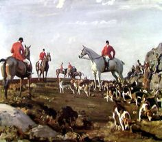 Hunting on Zennor Hill, Cornwall, AJ Munnings.  I have had this print for years