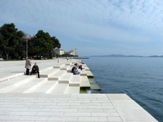 Project: Sea Organs  Designer: Nikola Bašič  Location: Zadar / Croatia    It's been fat 4 years since sea organs were built as a enrichment of the Zadar's Riva-waterfront. The movement of the waves pushes air through the pipes, and makes them whistle. 35 Pipes are hidden in marble staircase, each one is tuned differently, and sometimes can be very loud. Sound comes out from two lines of holes as you can see on a pictures bellow.