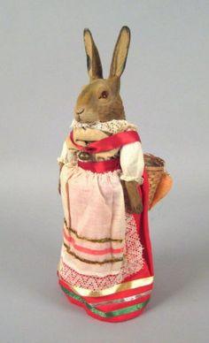 German paper mache rabbit candy containe..