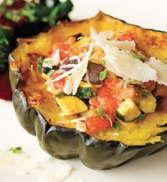 Roasted-and-Stuffed Acorn Squash with Coral Pepper Sauce